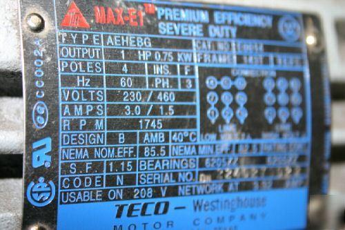 Teco motor nameplate for Teco westinghouse motor catalog