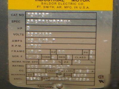 Baldor 5 hp 3 phase motor