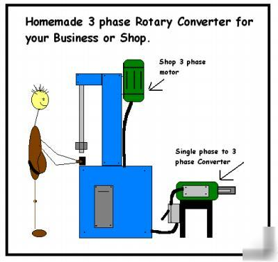 Homemade rotary phase converter plans for How to convert 3 phase motor to single phase 220v